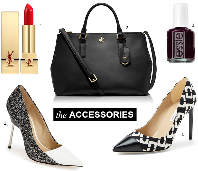 Nicole Richie lipstick handbag shoes white black cap toe heels saint laurent