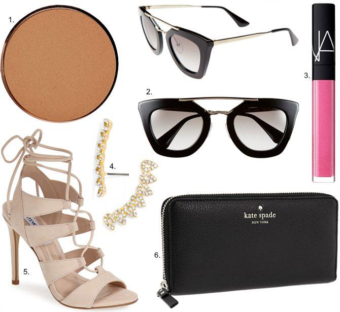 Prada sunglasses smashbox suntanned matte bronzer kim kardashian kate spade zip wallet steve madden lace up heels nars lip gloss makeup