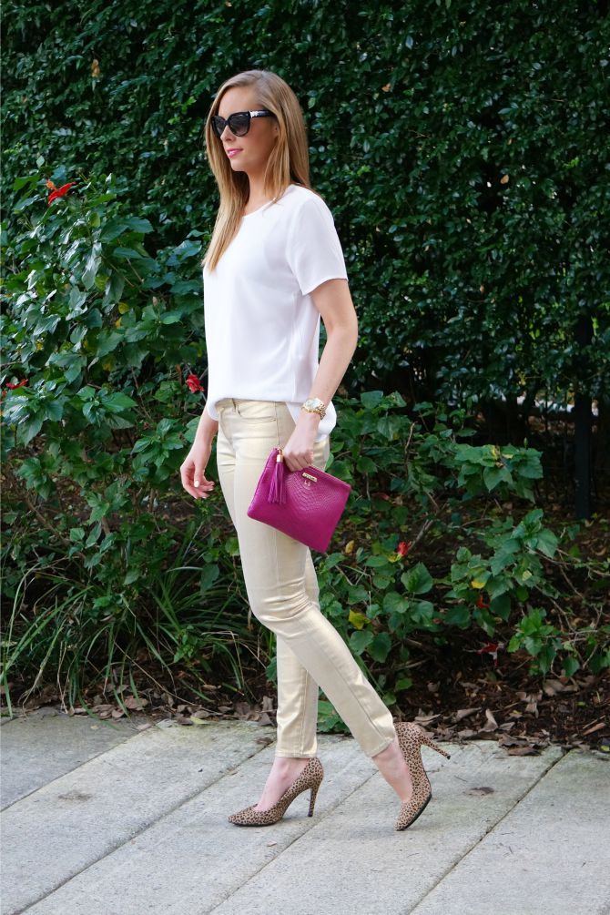 gold metallic jeans gigi new york monogram clutch prada sunglasses lauren slade style elixir blog new york blogger