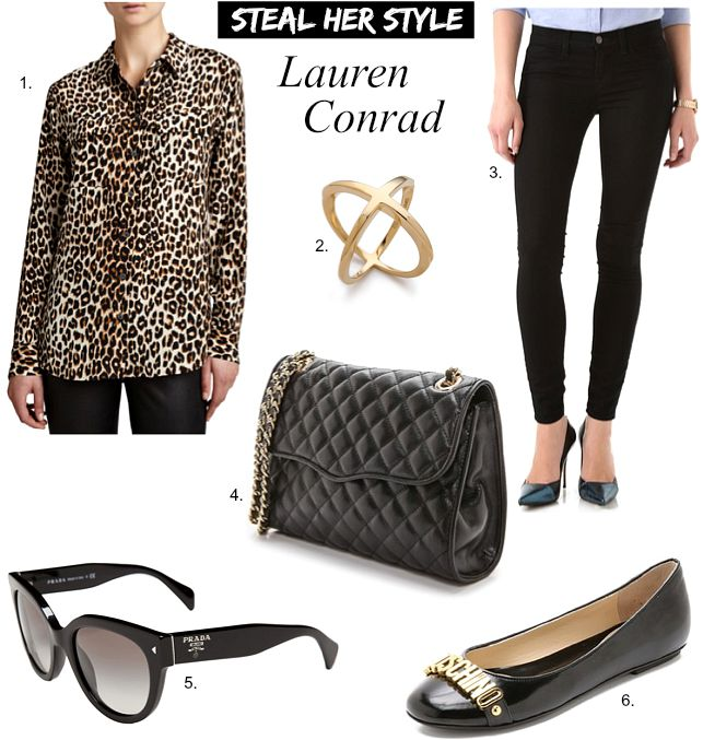 Lauren Conrad Outfit Equipment Leopard Shirt J Brand Skinny Black Jeans Chanel Handbag