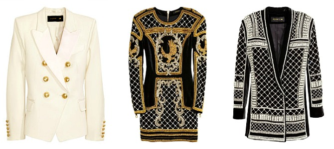 Balmain X H&M Preview  Wool Jacket with Satin Lapels, $129    |    Beaded Velvet Dress, $599    |    Beaded Velvet Jacket, $549
