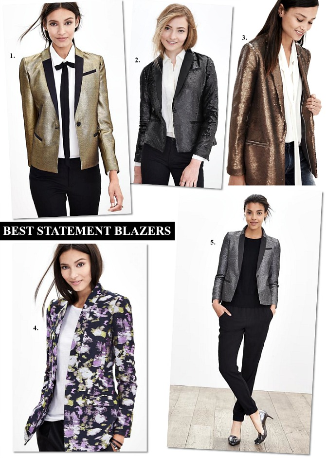 Best statement blazers gold metallic blazer floral blazer silver metallic blazer jacket sequin jacket blazer