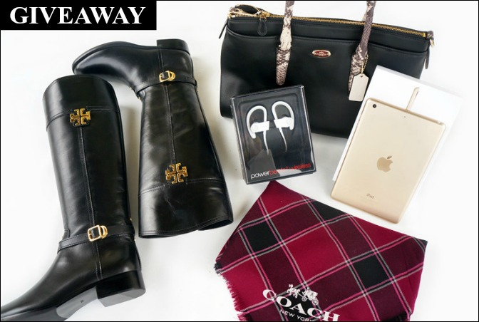 blog giveaway win tory burch boots coach handbag scarf gold ipad mini prize