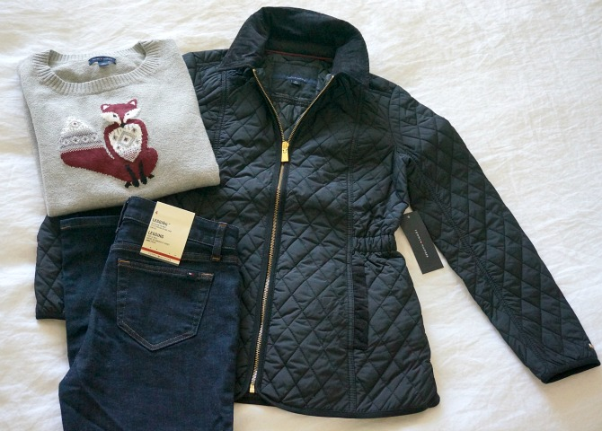 tommy hilfiger black quilted puffer jacket ladies jeans fox grey sweater style elixir blog winter outfit ideas