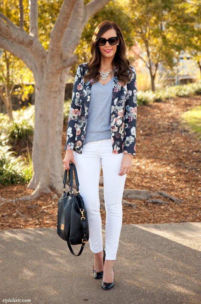 Floral Blazer white jeans lauren slade style elixir fashion blogger www.stylelixir.com new york blogger