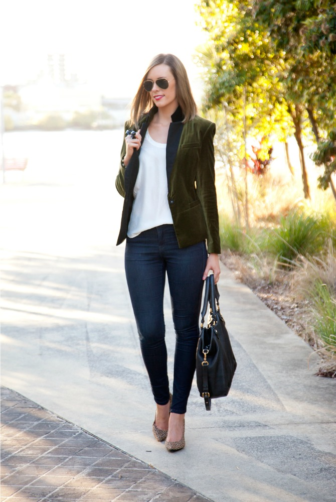 velvet blazer hot to wear a military green jacket lauren slade style elixir fashion blog www.stylelixir.com