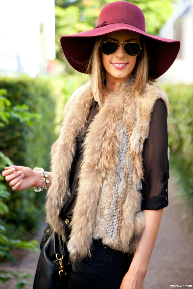 how to style a fur vest burgundy hat black boots fashion blogger outfit new  york blog