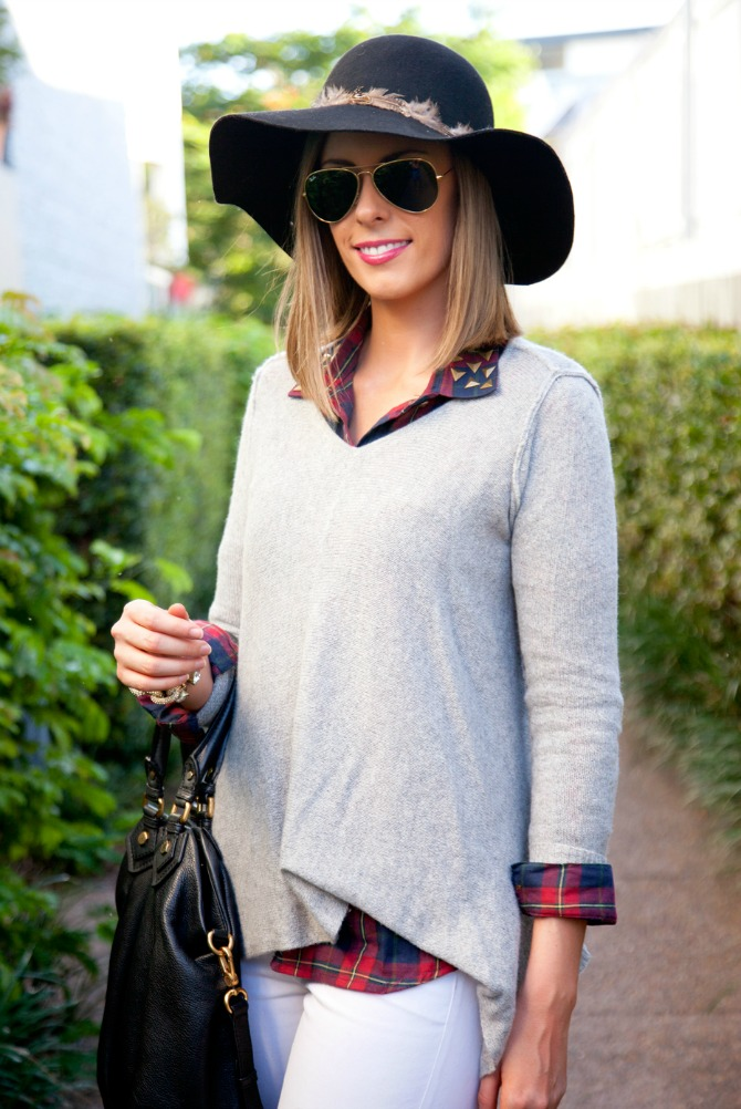 My Favorite Cashmere Sweater and Plaid Shirt lauren slade style elixir fashion blog white jeans rag and bone boots wool hat