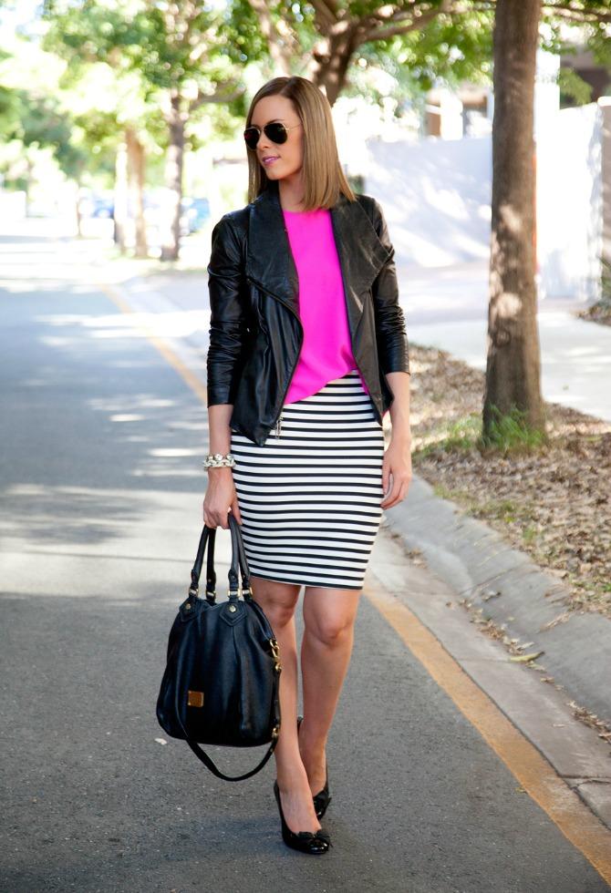 Vince Scuba Leather Jacket stripe pencil skirt lauren slade style elixir fashion blog new york blogger