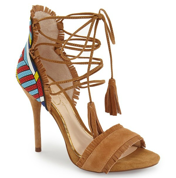 Jessica Simpson Basanti Lace-Up Sandal spring shoes tan heels pumps lace up heels fringe trend tribal print