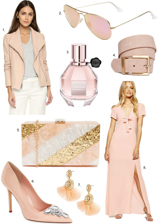 Blush Colors dress sunglasses clutch kate spade heels vince leather asos belt baublebar earrings viktor rolf perfume