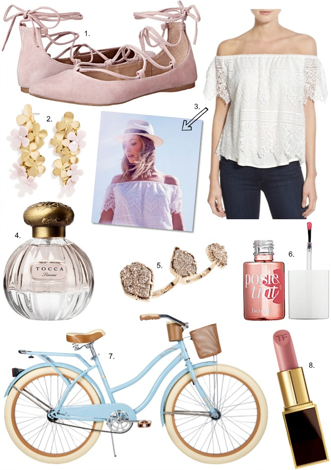 Cupcakes and Cashmere blog spring fashion cruiser bike kendra scott naomi double ring steve madden eleanorr lace up ballet flats