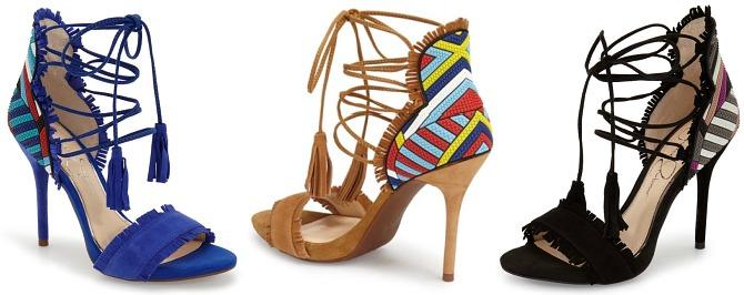 Jessica Simpson Basanti Lace Up Sandals spring shoes tan heels pumps lace up heels fringe trend tribal print