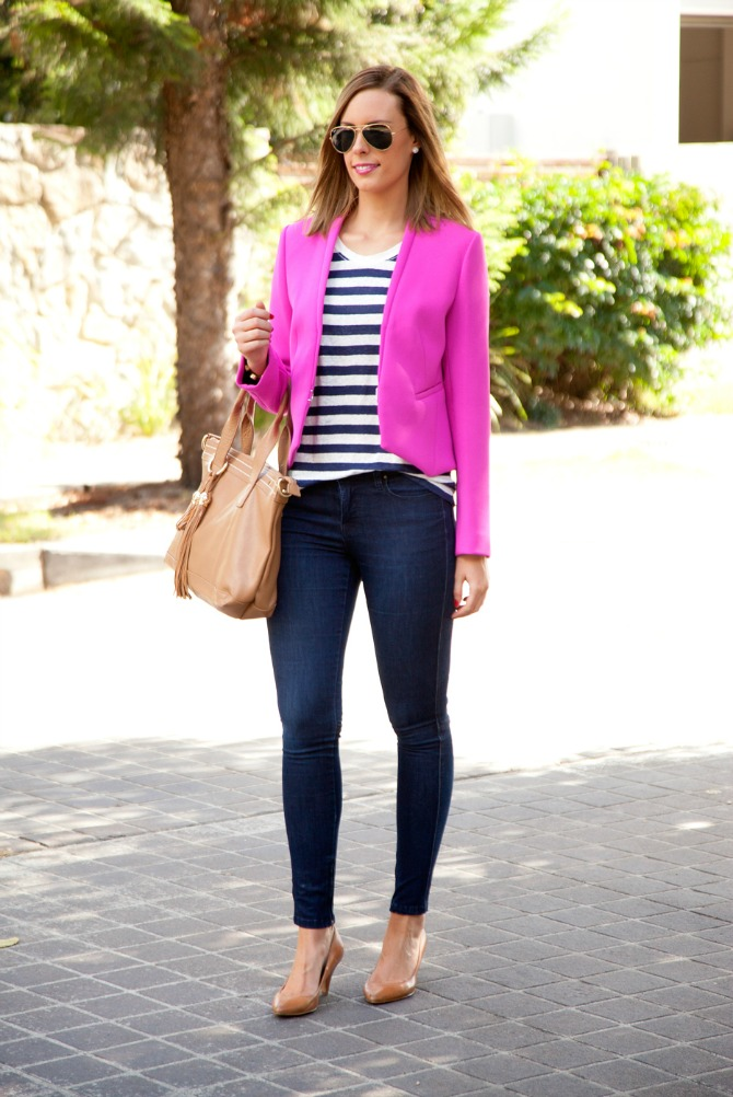 bright pink DVF jacket theory stripe tee tshirt lna jbrand jeans tan heels lauren slade fashion blogger new york los angeles ray ban aviators lob haircut bronde style elixir blog