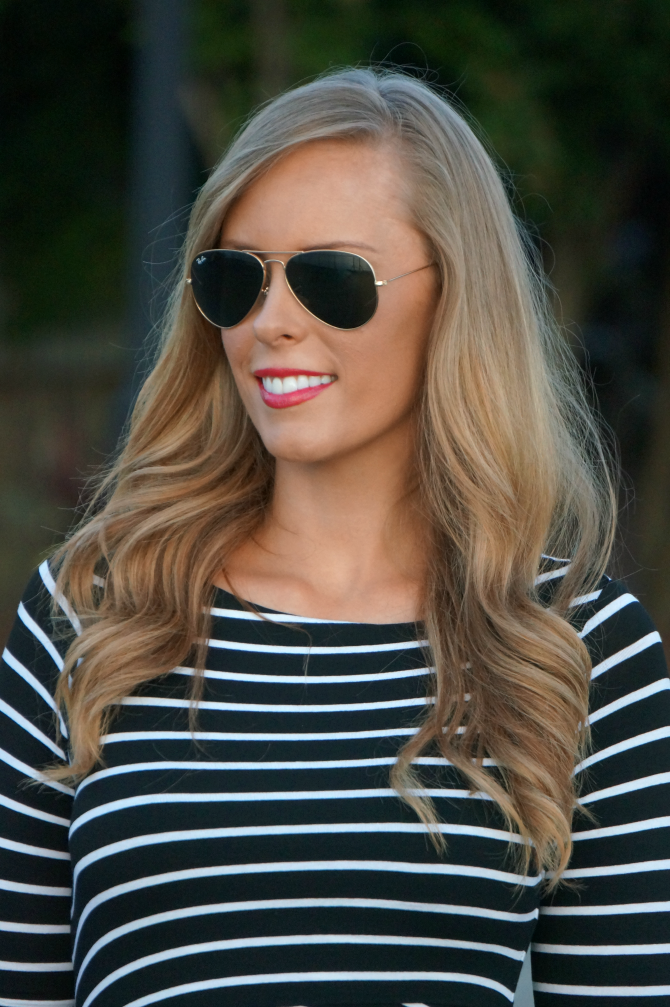 makeup routines Bailey 44 signature striped column dress lauren slade fashion blogger new york style elixir blog ray ban aviator sunglasses blonde soft curls summer hair aerosoles glossary wedge sandals estee lauder lipstick pure color poppy love gigi new york parker satchel monogram bag