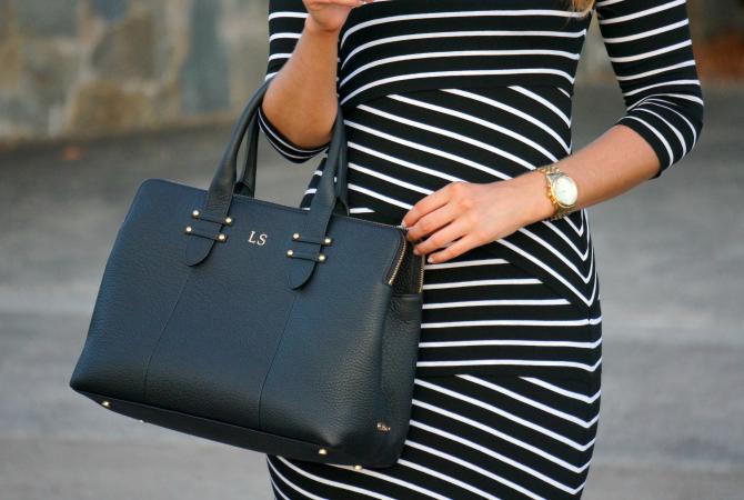 Bailey 44 signature striped column dress lauren slade fashion blogger gigi new york parker satchel monogram bag