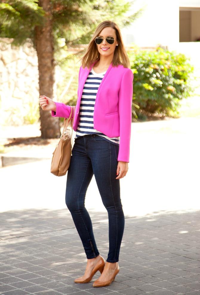 bright pink DVF jacket theory stripe tee tshirt lna jbrand jeans tan heels lauren slade fashion blogger new york los angeles ray ban aviators lob haircut bronde style elixir blog