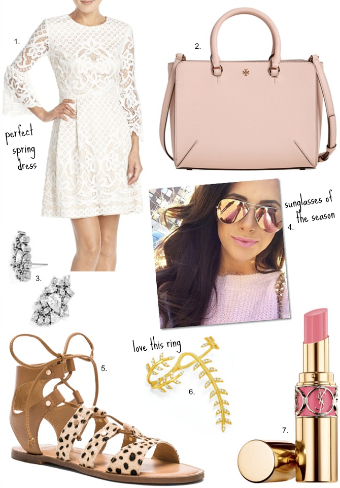Eliza J Fit and Flare Dress Tory Burch robinson blush pink bag the sweetest thing emily gemma ray ban pink sunglasses leopard sandals