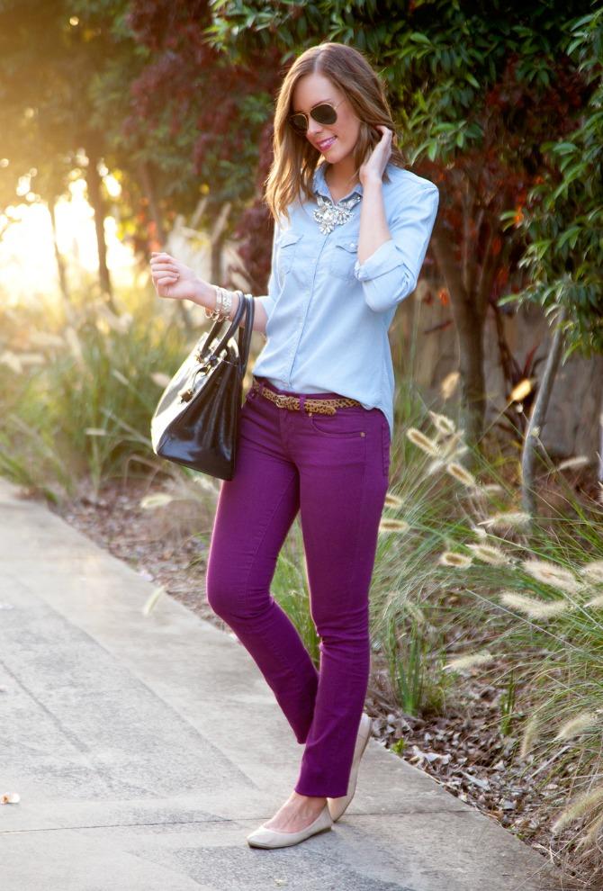 chambray shirt purple colored jeans tory burch lauren slade fashion blogger leopard calf hair belt vince camuto nude ballet flats style elixir blog beach curls lob haircut