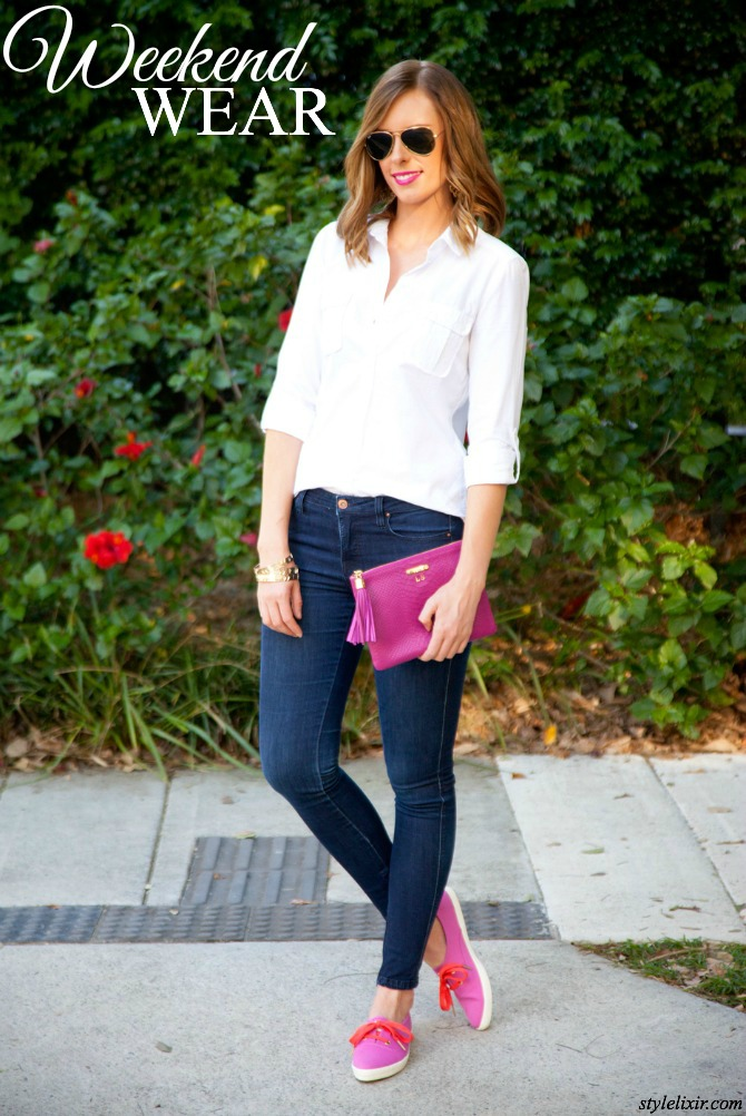 kate spade sneakers pink dark denim skinny jeans white button down casual outfit ideas weekend gigi new york magenta clutch lauren slade fashion blogger style elixir blog ray ban aviators