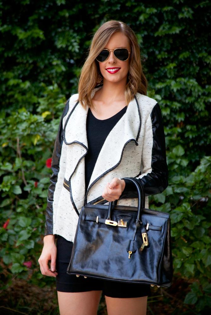 monochrome outfit ideas black and white cardigan black shorts heels birkin handbag beach curls ray ban aviators lauren slade fashion blogger style elixir blog