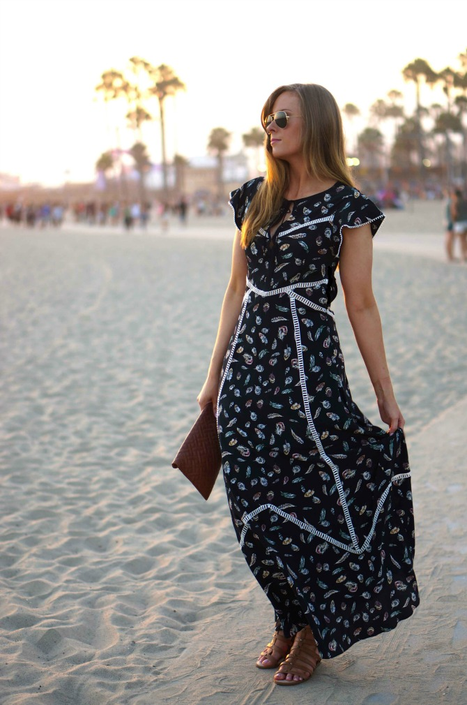 1 Style-Elixir-Santa-Monica beach style fashion Boho Chic - The Kooples Silk Feather Maxi Dress la fashion blog lauren slade boho fashion