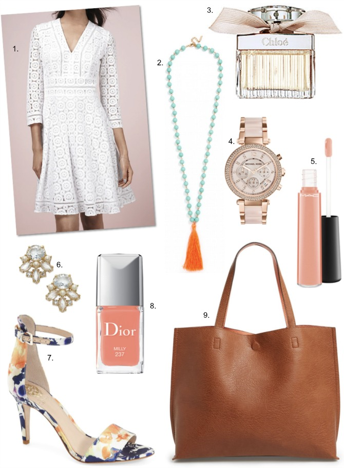 Eliza-J-White-Lace-Dress tan tote rose gold michael kors watch chloe perfume dior nail polish
