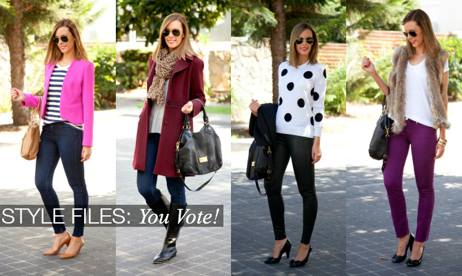Fashion-Trends-Style-File-You-Vote-Style-Elixir-Blog-Blogger-Polka-Dots-Leather-J-Brand-Fur-Michael-Kors-Pink-Jacket-Blazer-Stripes-Theory-Tee-Tory-Burch-Equipment-Ray-Ban-YSL-Marc-Jacobs