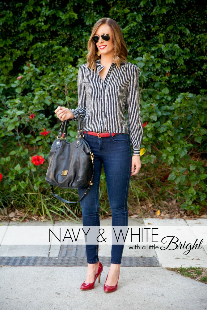Tory-Burch-button down shirt dark skinny jeans red ralph lauren belt marc jacobs fran classic q bag lauren slade fashion blogger style elixir blog