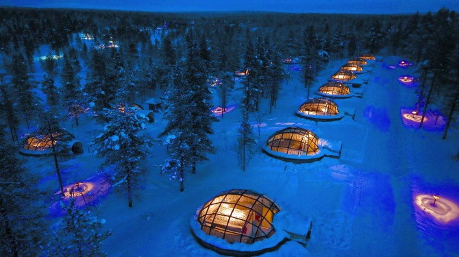 snow vacation deal kakslauttanen glass igloo northern lights lapland iceland