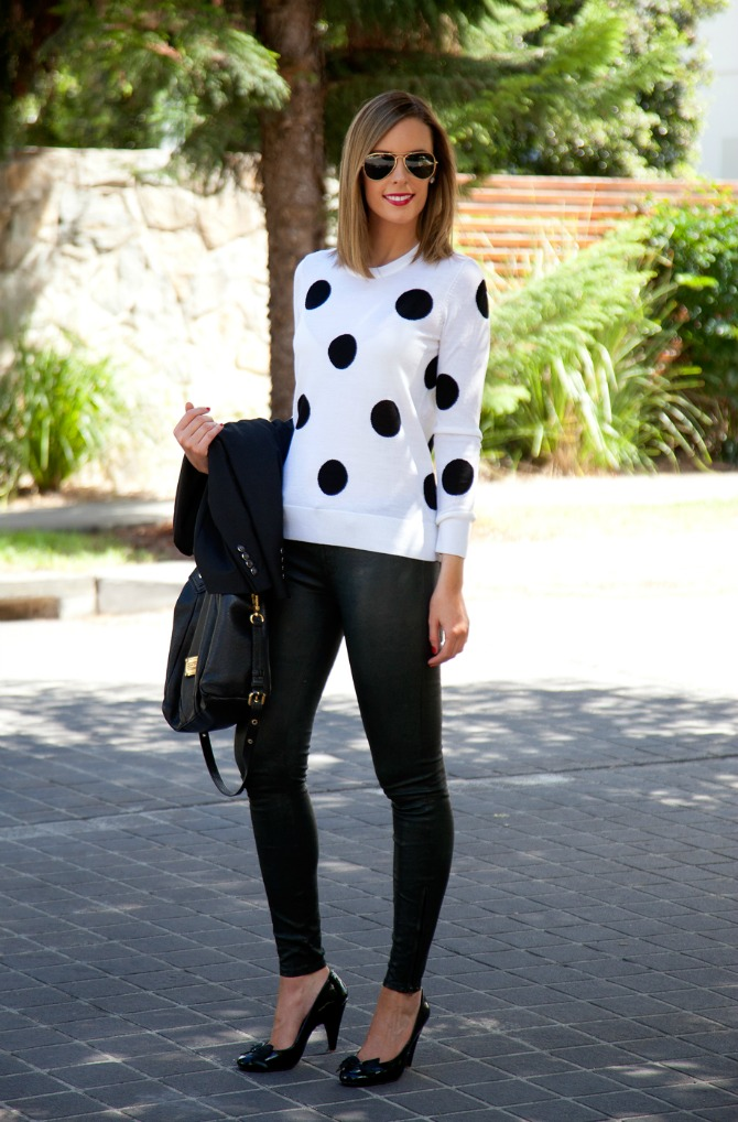 most pinned outfit ever lauren slade style elixir fashion blog j brand leather pants equipment polka dot sweater marc jacobs fran bag