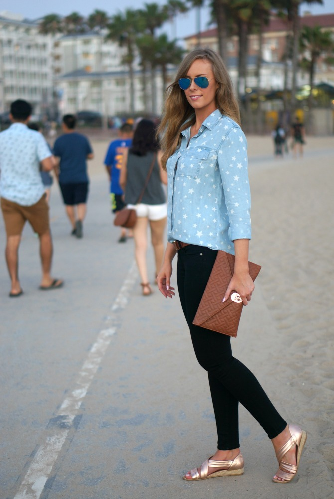 splendid star denim chambray shirt kate hudson blue mirror rayban aviators paige denim jeans lauren slade los angeles faashion blogger style elixir blog santa monica