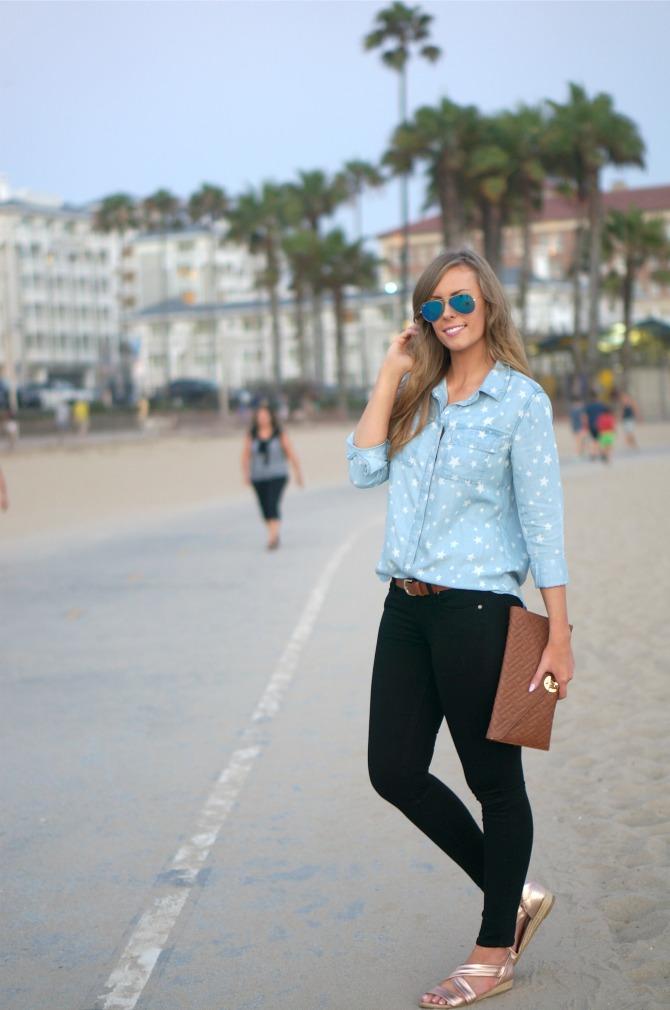 Splendid Star Chambray Shirt kate hudson blue mirror rayban aviators paige denim jeans lauren slade los angeles fashion blogger style elixir blog santa monica