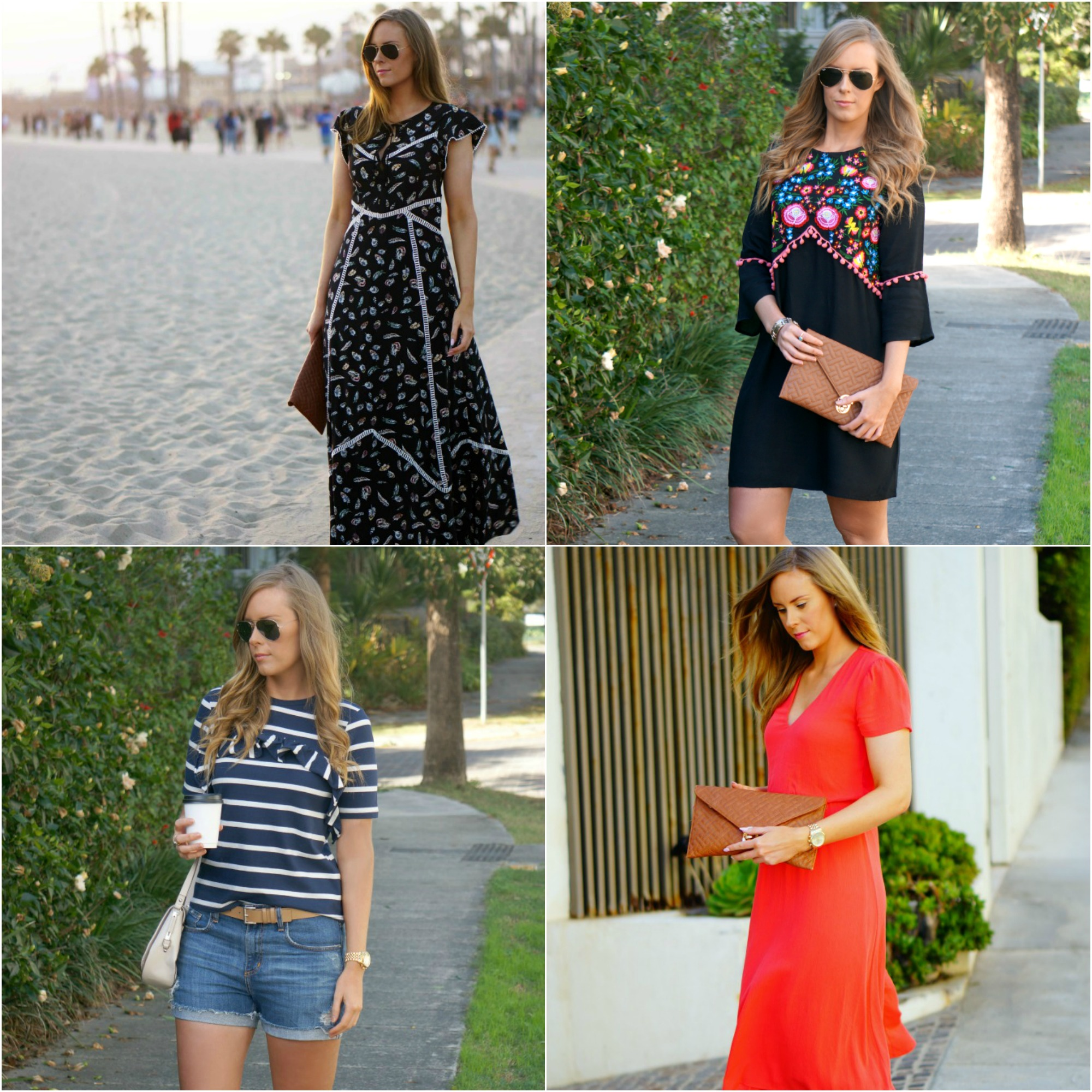 best summer outfit ideas style elixir blog lauren slade fashion blogger the kooples maxi dress pom pom kaftan stripe asos tee