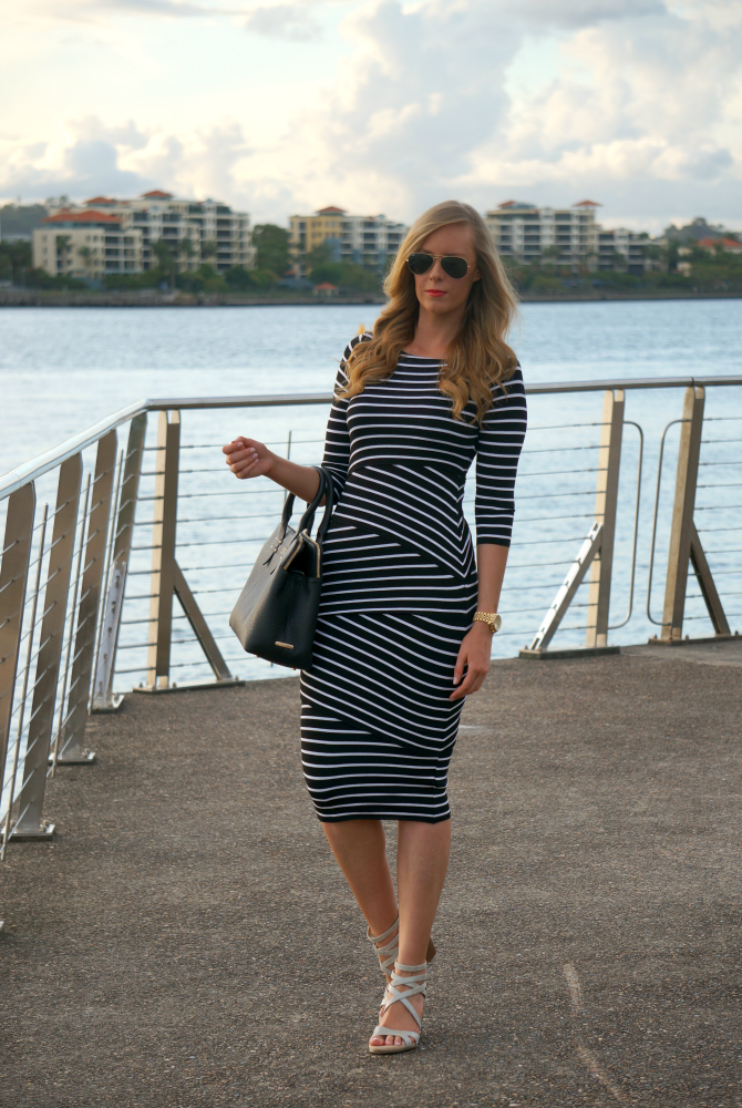 stripe bodycon dress gigi new york bag