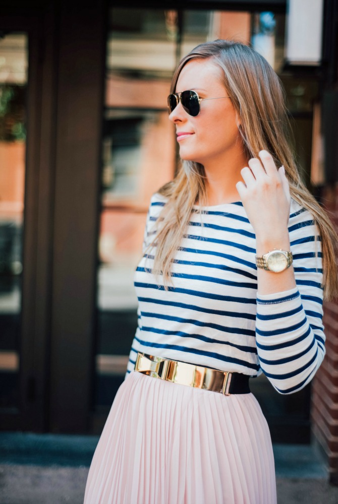 11-blush-knife-pleat-midi-skirt-with-stripe-top-lauren-slade-gold-metallic-ballet-flats-loefler-randall-new-york-fashion-blogger-style-elixir-blog-outfit-ideas-best-pinterest-fashion