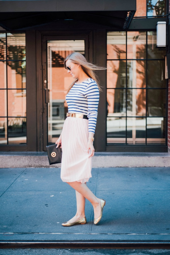 2-blush-knife-pleat-midi-skirt-with-stripe-top-lauren-slade-gold-metallic-ballet-flats-loefler-randall-new-york-fashion-blogger-style-elixir-blog-outfit-ideas-best-pinterest-fashion