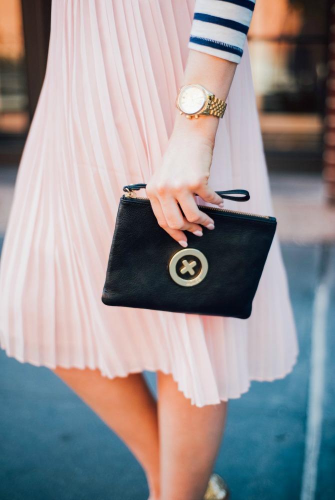 5-blush-knife-pleat-midi-skirt-with-stripe-top-lauren-slade-gold-metallic-ballet-flats-loefler-randall-new-york-fashion-blogger-style-elixir-blog-outfit-ideas-best-pinterest-fashion