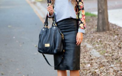Style Sessions – The Perfect Black Leather Pencil Skirt with Floral