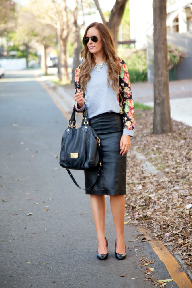 black leather pencil skirt floral top marc jacobs fran bag lauren style bellami hair extensions
