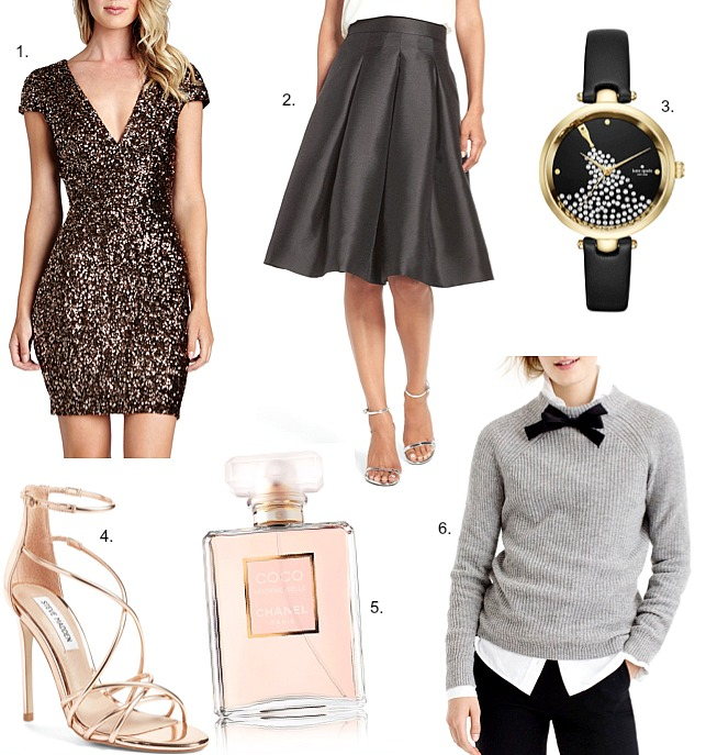 party-season-style-gold-sequin-dress-grey sweater bow