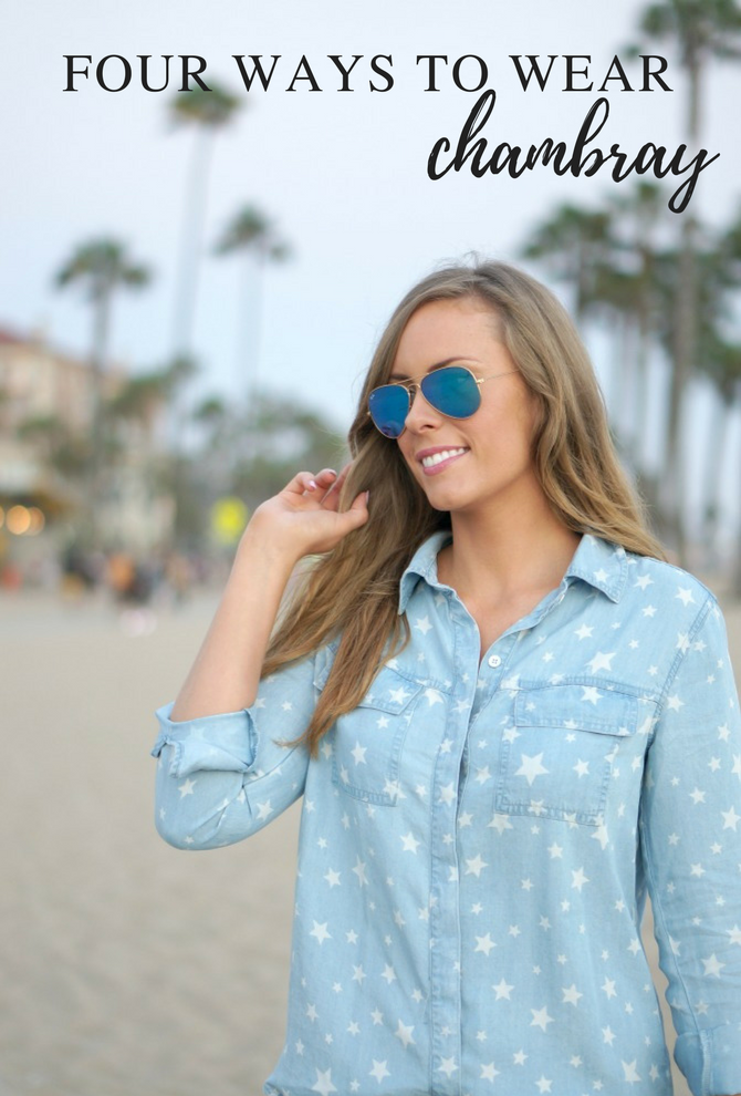 four-ways-to-wear chambray shirts denim splendid Long Sleeve Star Shirt