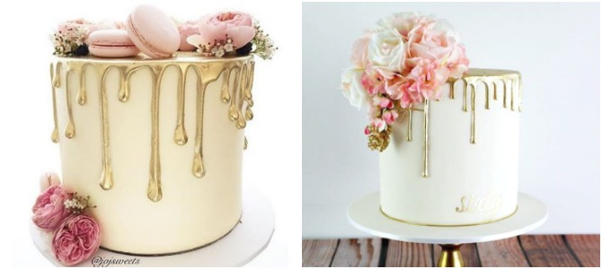 gold semi naked drip wedding cakes with light pink blush fresh flowers