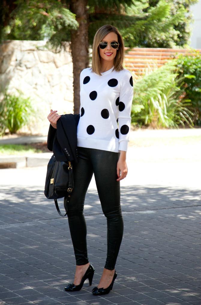 j brand leather pants on pinterest equipment polka dot sweater lauren slade fashion blogger new york los angeles style elixir