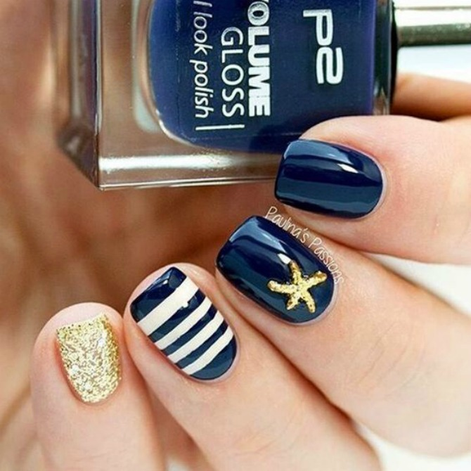 paulinas passions nautical summer nail art ideas navy and white stripe manicure