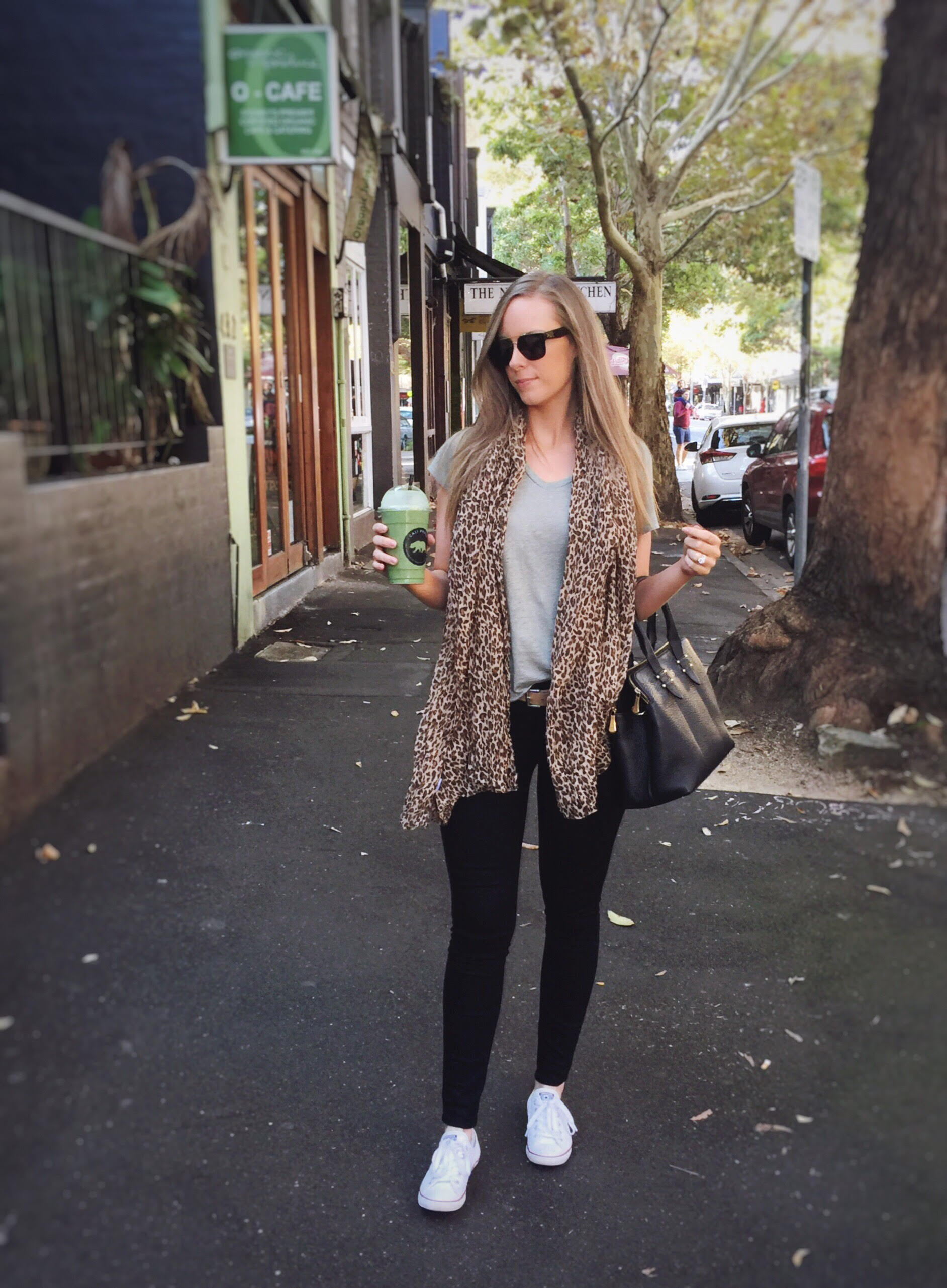 relaxed weekend outfit black jeans with linen tee and leopard scarf gigi new york bag celine sunglasses by lauren slade fashion blogger