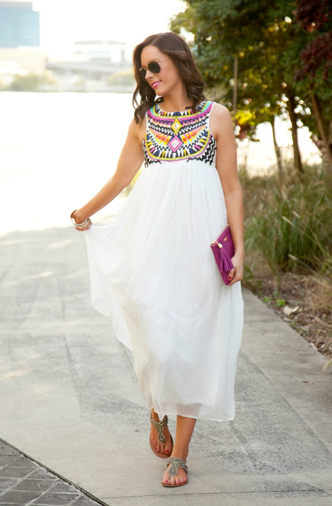 pretty summer dresses white boho maxi dress