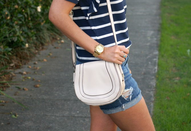 navy and white stripe tee and distressed denim shorts summer outfit ideas lauren slade style elixir los angeles fashion blogger 3