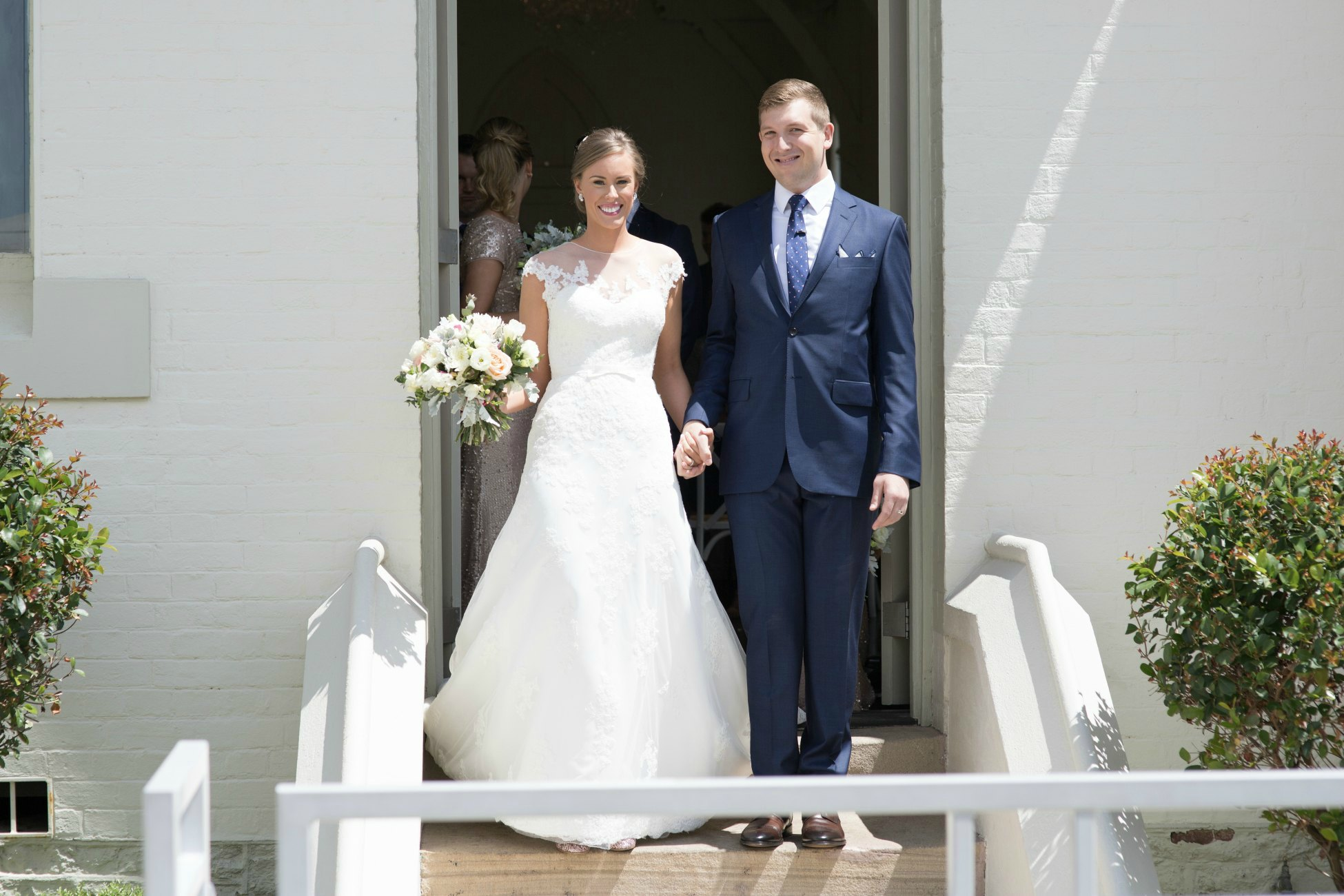 high church brisbane wedding day bride and groom photo pronovias dress pretty white wedding church