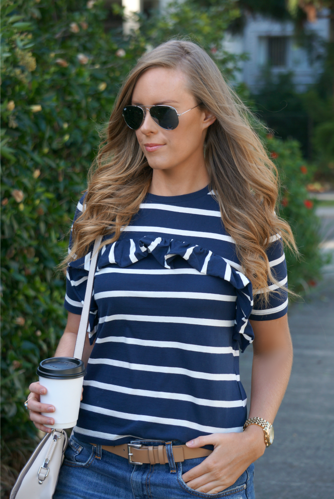 navy and white stripe tee and denim shorts summer outfit ideas lauren slade style elixir los angeles fashion blogger 6
